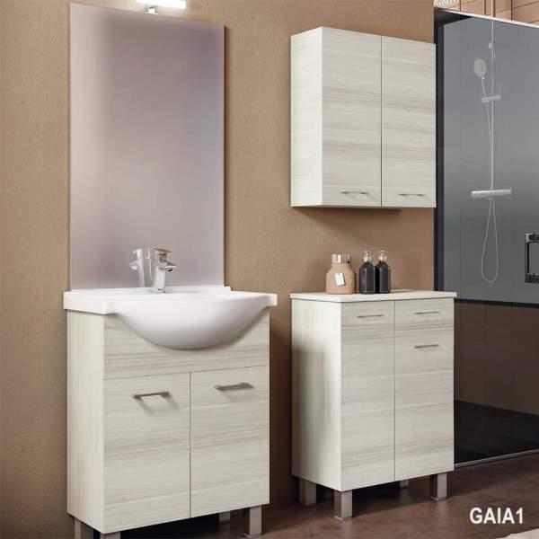 Composizione Bagno A Terra 65 Gaia Inclusa Di Lavabo In Ceramica E Specchio Con Lampada A Led