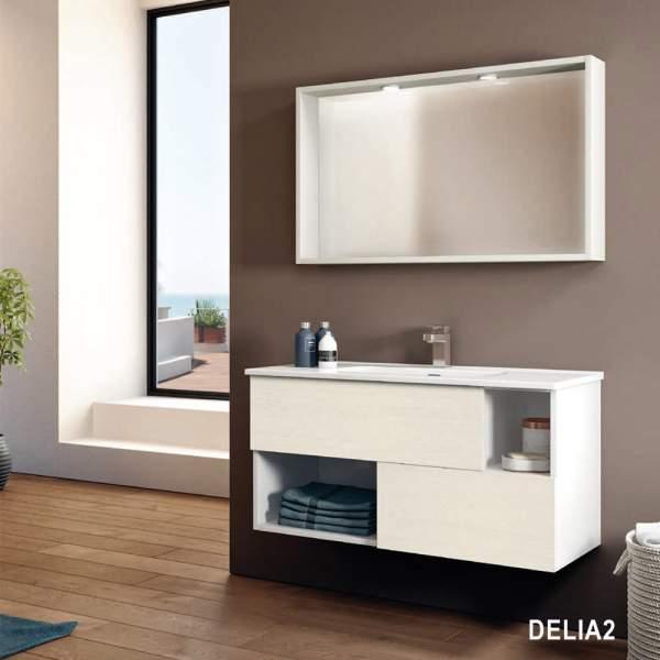 Composizione Bagno Sospesa 80 Delia2 Inclusa Di Lavabo E Specchiera