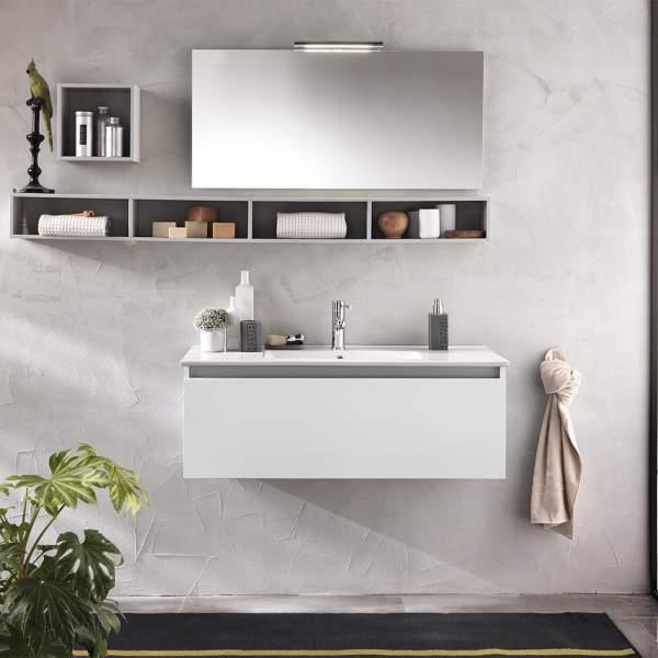 Mobile Bagno Moderno 100 Cm Bianco Ibiza Tft Home Forniture