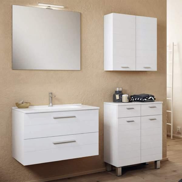 Mobile Bagno Moderno Sospeso Da 80 Cm Con Specchio E Lampada Rigo3