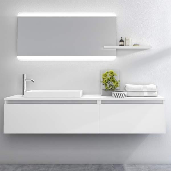 Mobile Bagno 170 Cm Bianco Laccato Opaco Tft Home Forniture