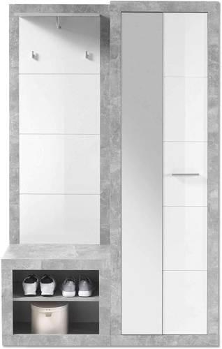 Guardaroba Completo Effetto Grigio Cemento E Bianco Lucido Solaika 3