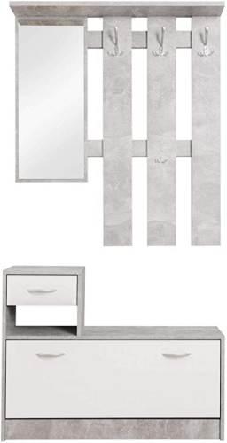 Guardaroba Da Ingresso Grigio Bianco Con Specchio 2