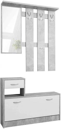Guardaroba Da Ingresso Grigio Bianco Con Specchio 3