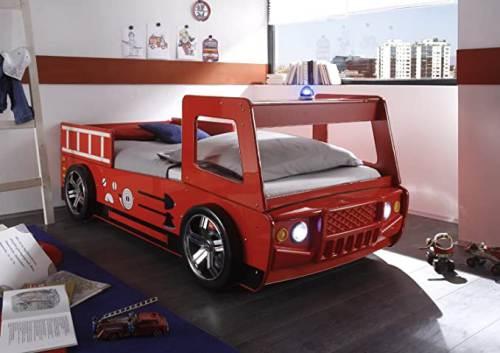 Letto Bambini Spello A Forma Camion Pompiere Con Illuminazione Led 1