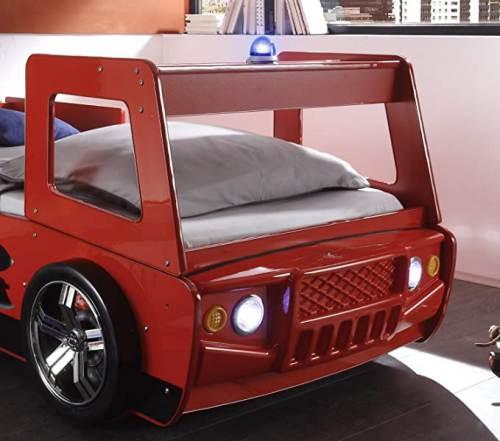 Letto Bambini Spello A Forma Camion Pompiere Con Illuminazione Led 2