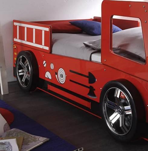 Letto Bambini Spello A Forma Camion Pompiere Con Illuminazione Led 3