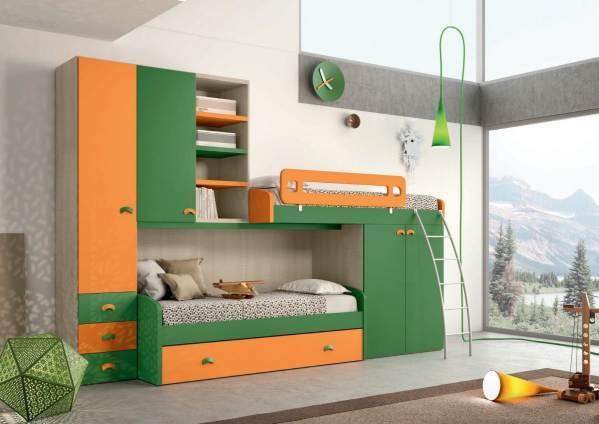 Cameretta Bambini A Soppalco Girotondo Verde E Arancione Modello Vasco
