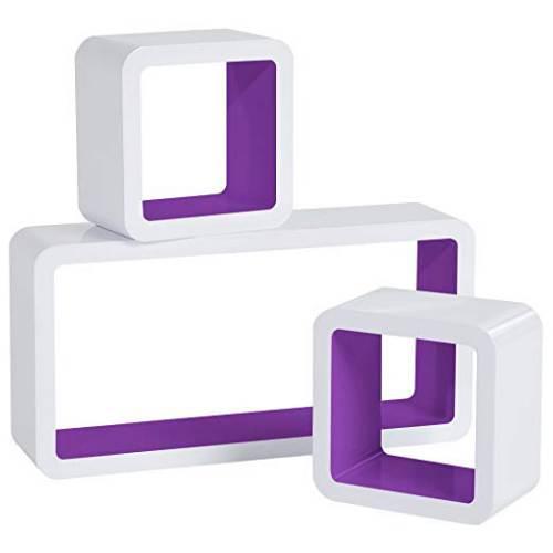 Cubi Da Parete Woltu Rg9229dbl Bianco E Viola Scuro