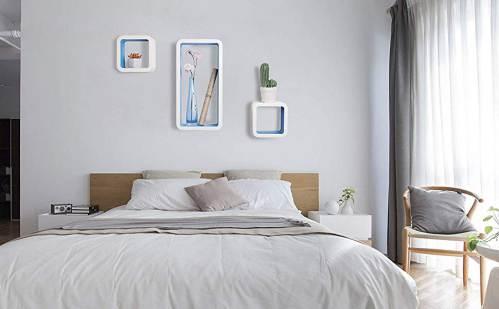 Cubi Da Parete Woltu Rg9229dbl2 Bianchi E Azzurri Sopra Il Letto