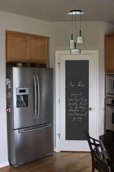 """Pannello porta cucina verniciato con effetto lavagna e scritte """"To do"""""""