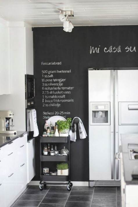 Parete lavagna con scritte dietro frigo americano