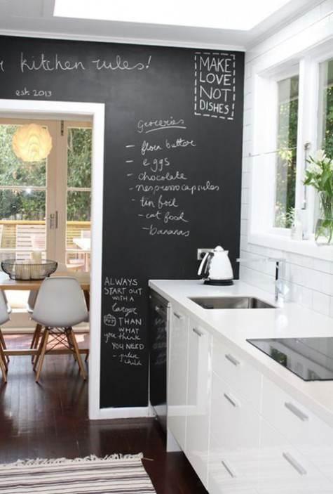 Parete cucina laterale effetto lavagna con scritte