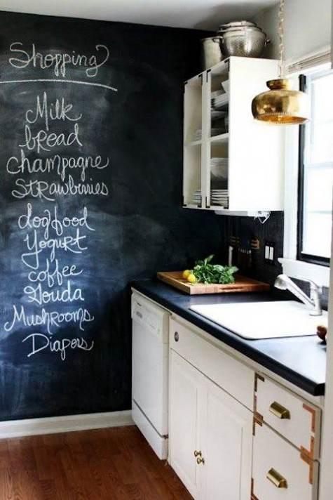 Lista della spesa su parete lavagna della cucina