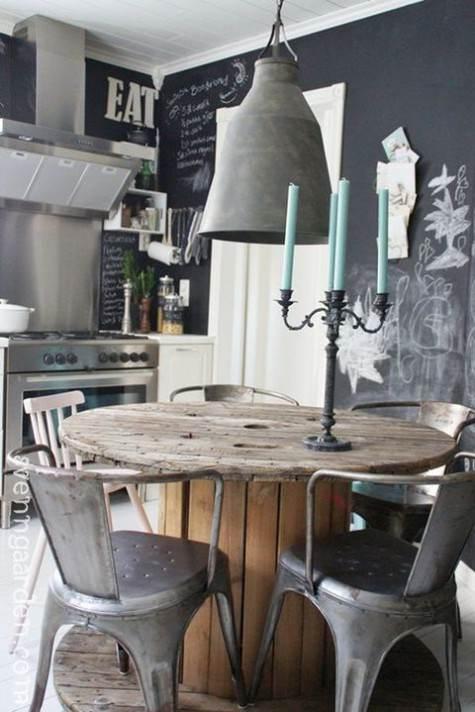 Pareti intere dipinte a lavagna con scritte in una cucina industrial style