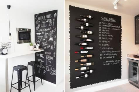 Scritte lavagna su pareti angolo cucina