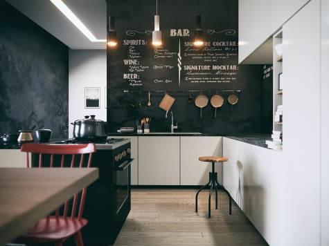 Parete lavagna con scritte sopra top della cucina