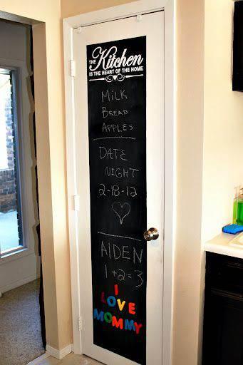 Scritte bianche e colorate sulla porta di una cucina