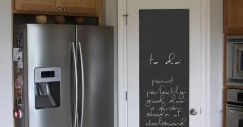 Porta con pannello pitturato lavagna di fianco al frigorifero