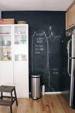 Parete lavagna di fianco al frigorifero
