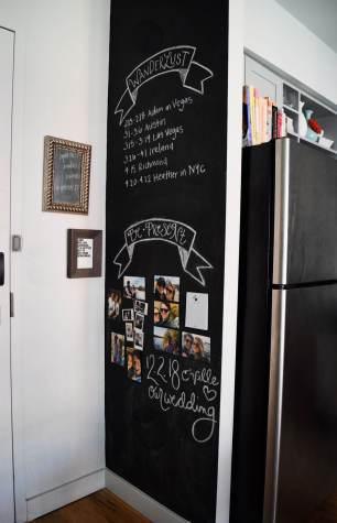 Scritte con foto su parete lavagna verticale cucina