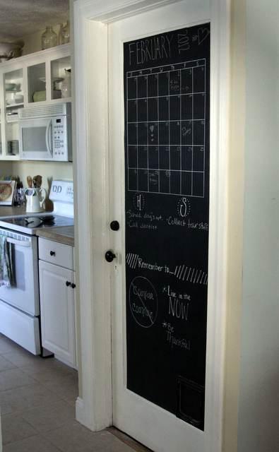 Pittura lavagna su porta della cucina