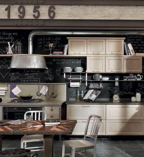 Parete lavagna con scritte dietro mobili cucina stile country / industrial chic
