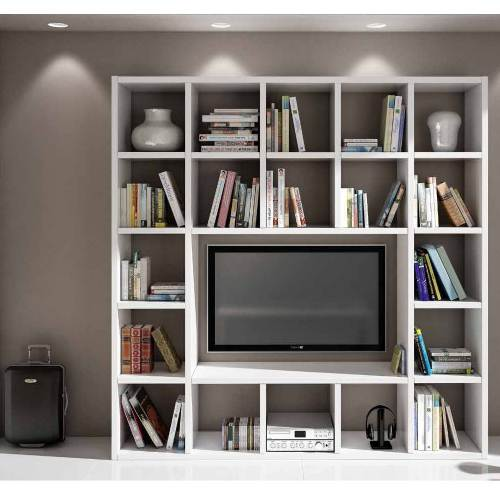Libreria Bianca Porta Tv 1