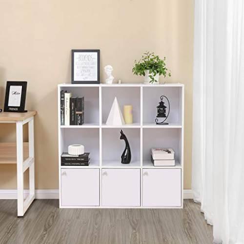 Libreria A 9 Cubi Vasagle Con 3 Armadietti Inferiori 2