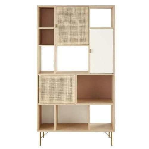 Libreria A Cubi E 3 Ante Con Impagliatura In Rattan Solstice 1