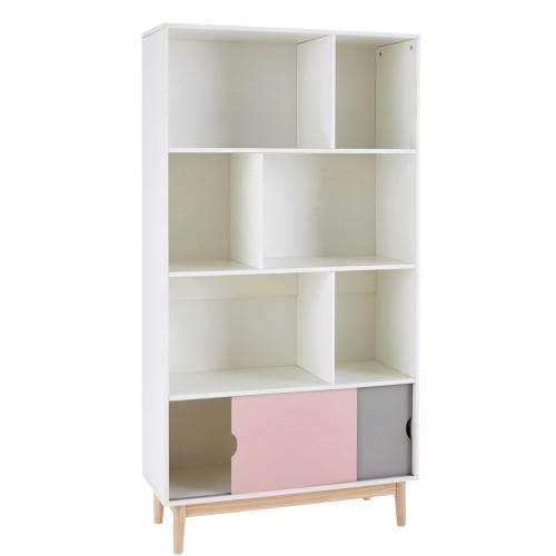 Libreria A Cubi E Due Ante Tricolore Blush 1