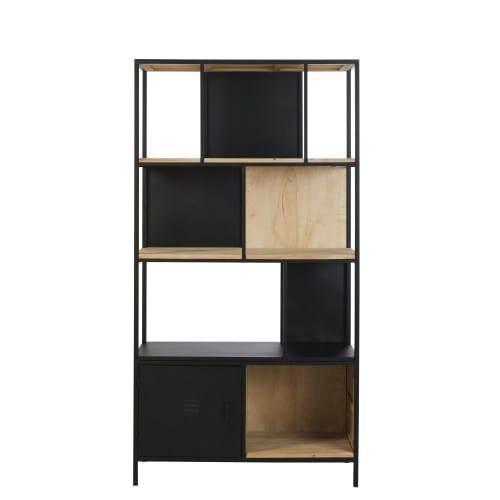 Libreria A Cubi In Abete E Metallo Nero Rebel 1