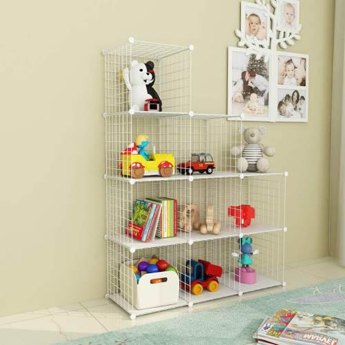 Libreria A Rete In Plastica Bianca O Nera Simpdiy 9 Cubi