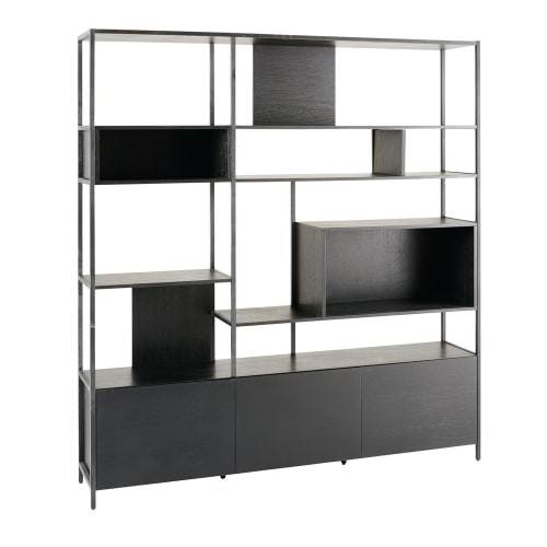 Libreria In Metallo Legno Nero A Cubi Opal 4