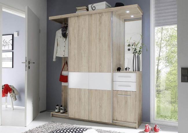 Mobile Ingresso Con Guardaroba Ante Scorrevoli Swindal By Avanti Trendstore Colori Bianco E Quercia Sonoma