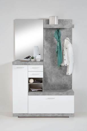 Mobile Ingresso Con Scarpiera Bristo By Avanti Trendstore Colori Girgio Cemento E Bianco Lucido