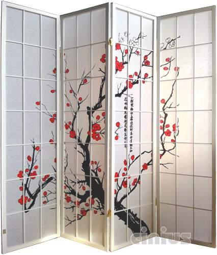 Paravento Giapponese Decorazione Rami Di Ciliegio Bianco