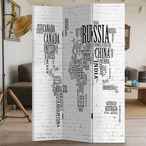 Paravento Moderno Con Stampa Mappamondo A Scritte 1