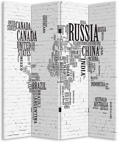 Paravento Moderno Con Stampa Mappamondo A Scritte 3