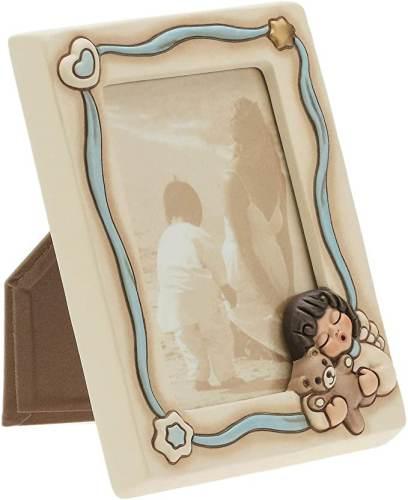 Portafotografia Thun Angel Boy in Ceramica con decori e nastro Azzurro per Neonato