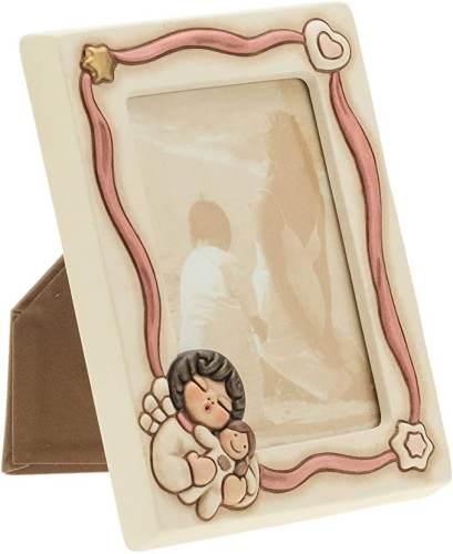 Portafoto Angel Boy In Ceramica Con Decori Rosa