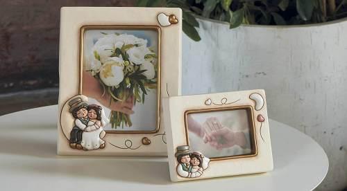 Portafotografia Thun da tavolo in ceramica con Sposini