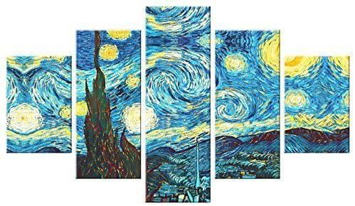 Quadro azzurro e blu multipannello Van Gogh Notte Stellata