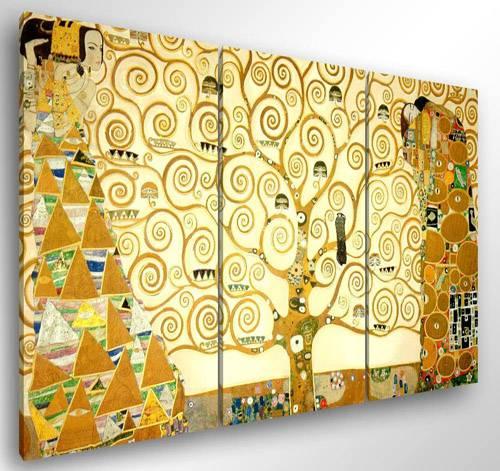 """Quadro moderno Gustav Klimt """"Albero Della Vita"""" color oro su sfondo giallo"""