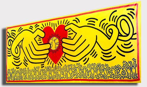 Quadro Moderno Pop Art Keith Haring Giallo Cuore Love