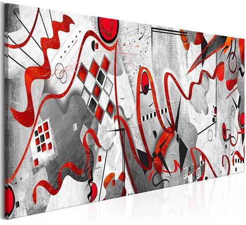 Quadro moderno con dettagli rossi stile astratto reinterpretando Kandinsky