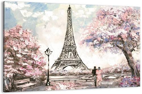 Quadro rosa moderno romantico per camera letto con Tour Eiffel di Parigi