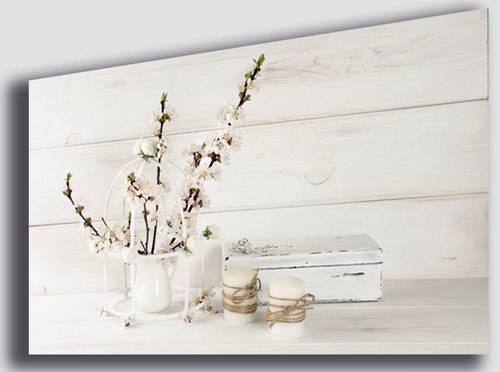 Quadro shabby chic per camera da letto con fiori di lavanda e candele