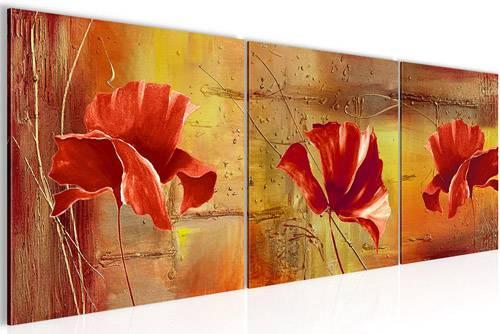 Set di quadri moderni a 3 pannelli con papaveri rossi