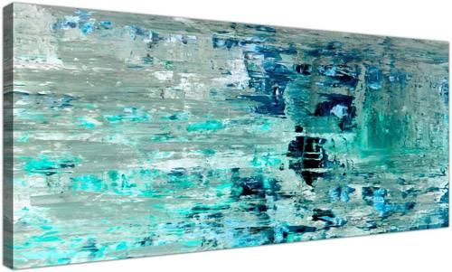 Stampa astratta su tela per camera letto turchese e blu